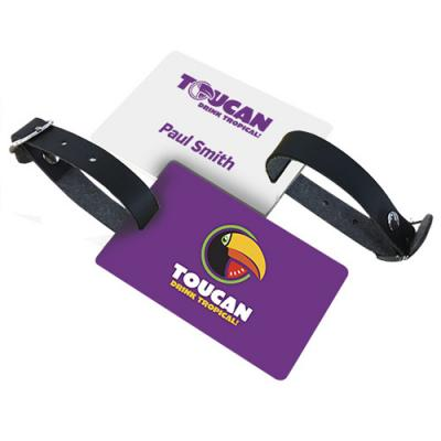 Image of PVC Luggage Tags With Black Leatherette Strap